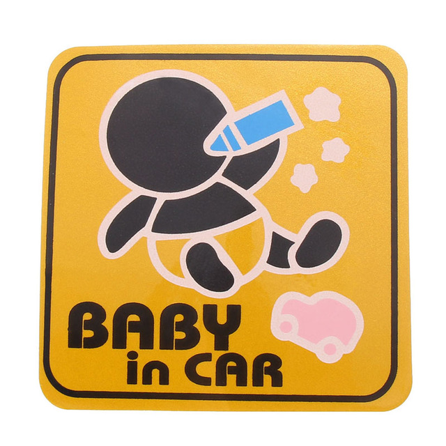 13Colors  Vinyl Cute Cartoon Car Stickers Baby In Car Pattern Warming Sticker Car Tail Warning Stickers car styling