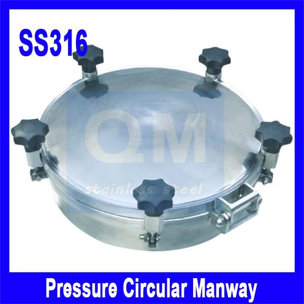400mm SS316Circular manhole cover with pressure,Round manway door, Height:100mm(China (Mainland))