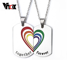 2pcs/pair Couple Necklace Pendant Stainless Steel Rainbow Heart Wedding Jewelry Free 2 chains(China (Mainland))