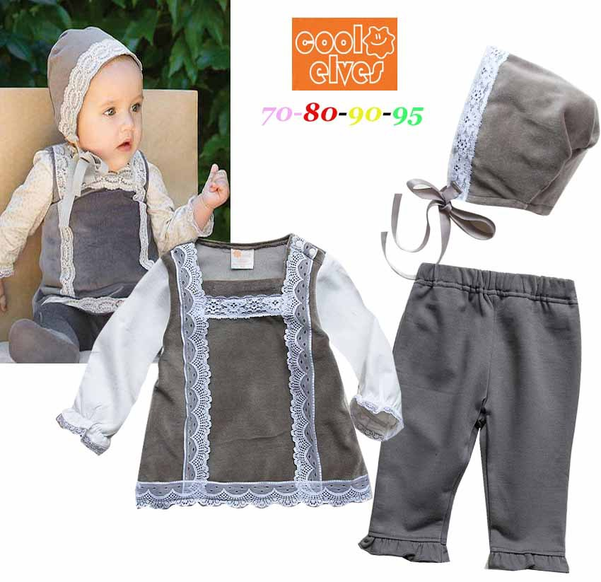 2014 New Autumn Baby Girl Clothing Sets Fashion High Quality Velour Lace Baby Girl Clothes ( t shirt + pants + beanie ) 1181(China (Mainland))