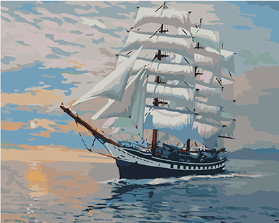 Framless Wall Art Pictures Painting By Numbers Hand Painted On Canvas Abstract Oil Painting Sail Boat Home Decor 40*50cm G423(China (Mainland))