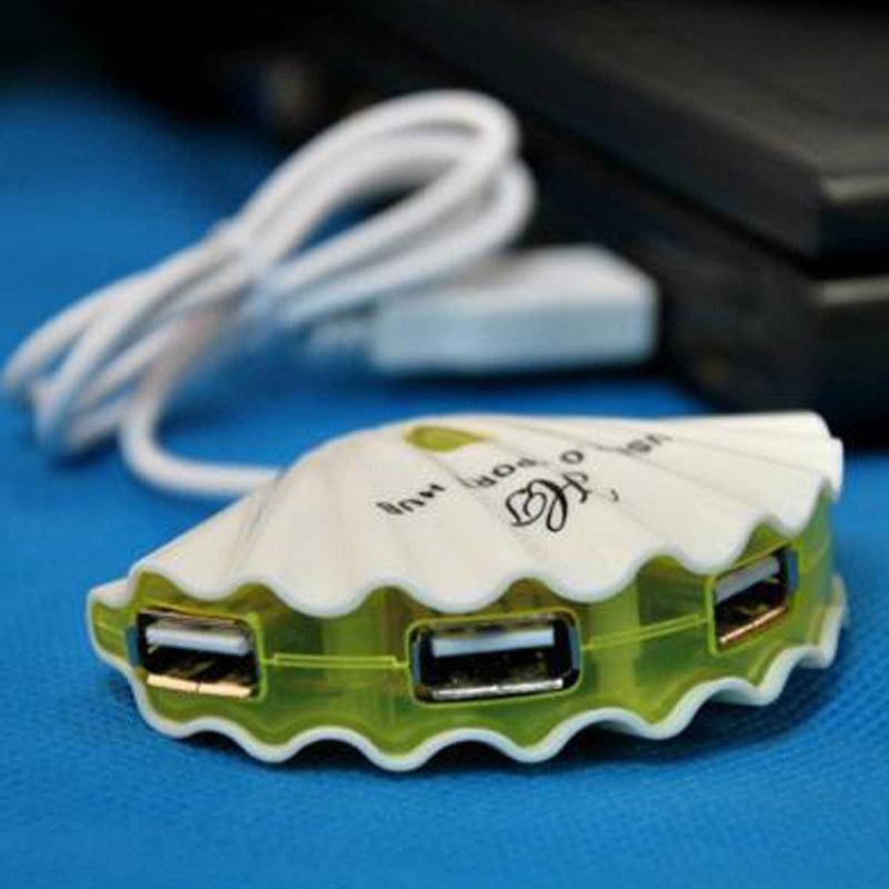 Cute Shell-shaped 4 Port Laptop PC 4 in1 USB Splitter/Hubs USB 2.0 New(China (Mainland))