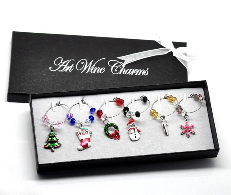 1 Box Handmade Christmas Wine Glass Charms Mixed Table Decorations W/ Box 50x25mm-57x25mm(China (Mainland))