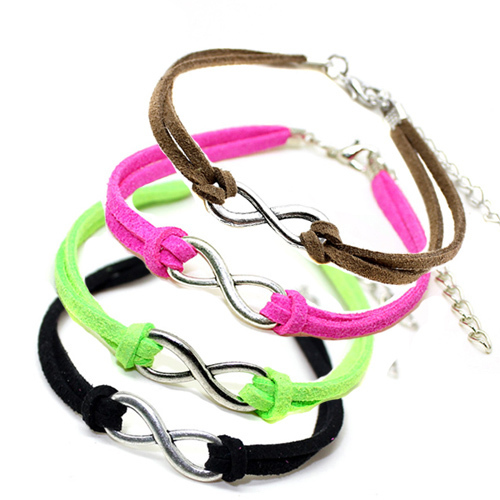 Hot Sale Multicolor Fluorescent Neon Silver-Plated Infinity Bracelets For Women Adjustable Size Cheap Bracelets Jewelry S108