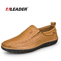 Sales Men Outdoor Casual Shoes Aleader Brand Men s Comfortable Loafers Classic Slip On Flat Leather