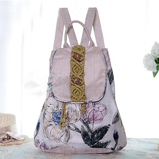 Spain Famous Brand Women Men Flower Canvas Daily Backpack Female Girl Woman Casual Fashion School Student Bag gw0513<br><br>Aliexpress