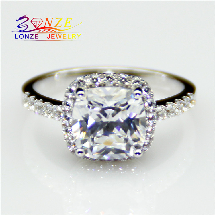 Cushion Cut 2CT Test Positive Moissanite Halo Set Accents Ring 9k White Gold