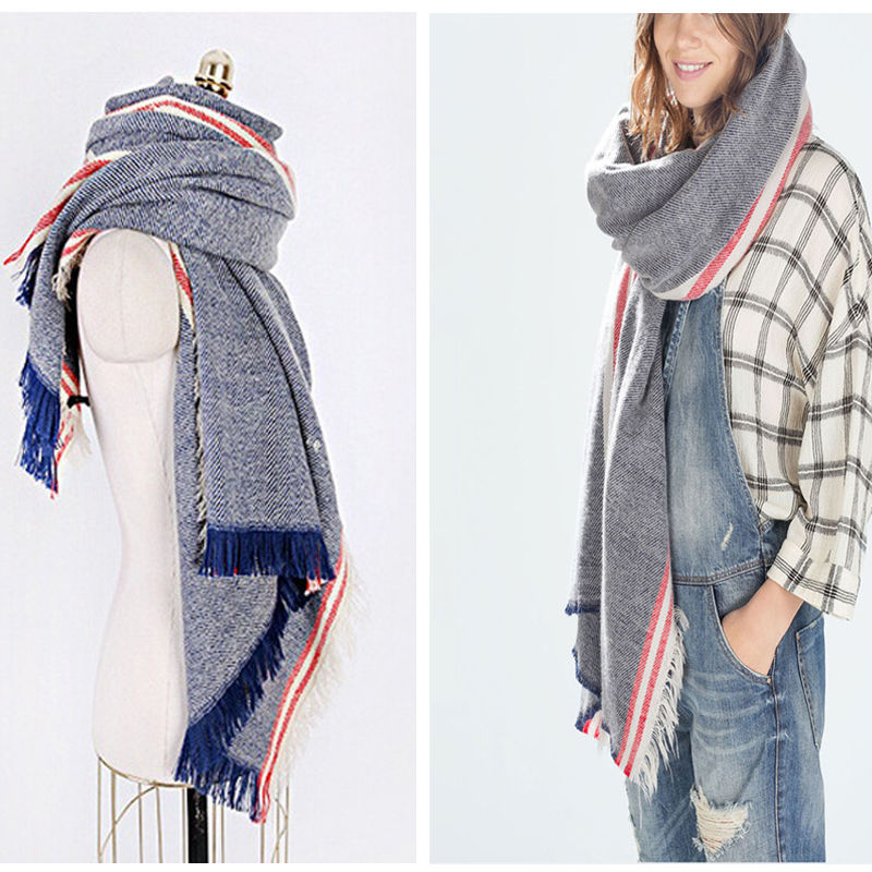 Fashion Women Winter Warm Blanket Oversized Scarf Wrap Plaid Checked Pashmina Shawl and Scarves for Women New(China (Mainland))