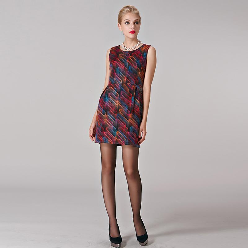 Hitorat womens new fashion print elegant female casual dresses 2016 spring autumn sleeveless one-piece female dress HAW1571022Одежда и ак�е��уары<br><br><br>Aliexpress