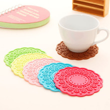 F790 fresh flowers thick round silicone coaster Candy-colored double-sided insulating mats(China (Mainland))