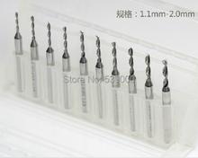 10pcs1. 1 – 2.0 mm grabado brocas CNC PCB Dremel Drill talla diámetro de vástago de 3.175 mm envío gratis 1358