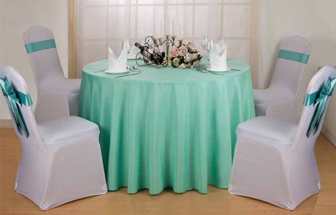 Tiffany colour wedding table cover table linen polyester tablecloth for wedding hotel round tables decoration wholesale(China (Mainland))