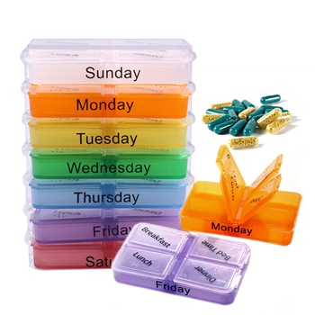 Free Shipping Hot Sales Medicine Weekly Storage Pill 7 Day Tablet Sorter Box Container Case Organizer hv