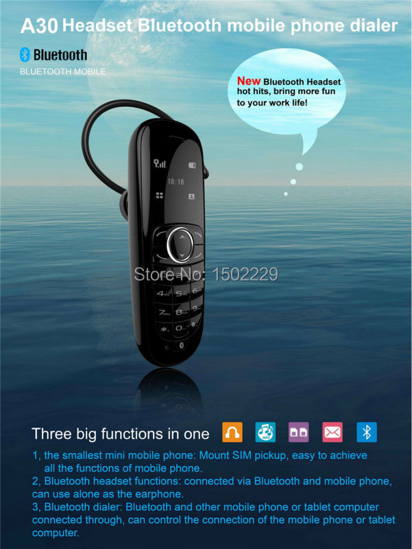 2015 free shipping A30 Mini Mobile Phone+Bluetooth Earphone+Bluetooth Dialer Cell Phones Multi Language Russian French Spanish(China (Mainland))