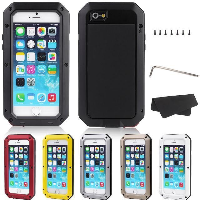 Luxury Dustproof Shockproof Waterproof Aluminum Metal Case For iphone 6 4.7 & plus 5.5 inch Armor Hard Cover With Temper Glass
