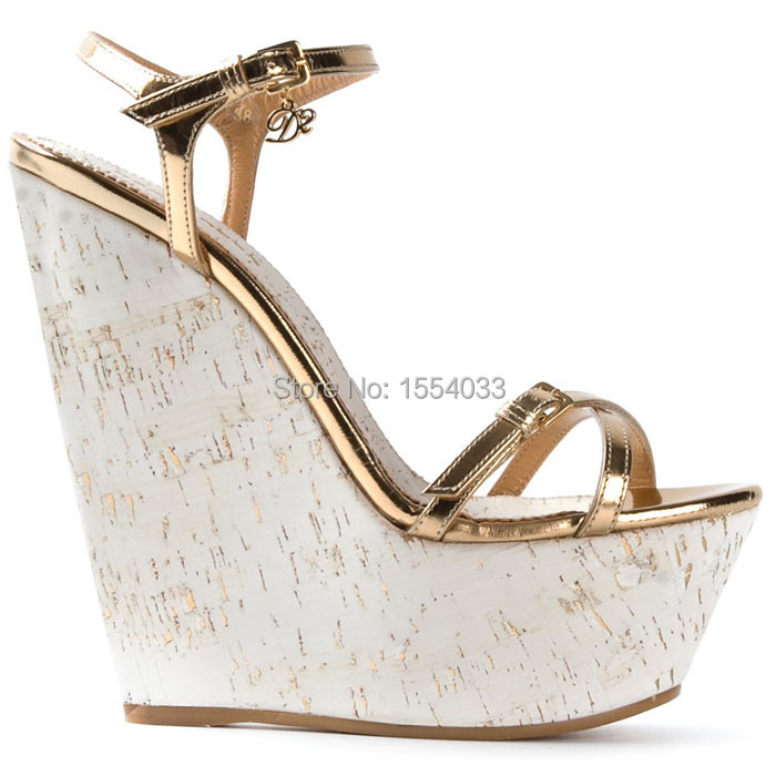 Gold Platform Wedge Sandals Strappy White Cork Wedges Shoes For Women Summer Wedge Shoes 2015 Leather Ankle Strap Wedges Sandals(China (Mainland))