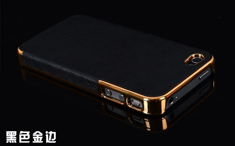 HOT ! Business Style Gold Frame Luxury Back Cover Cross Pattern Leather Case for Apple iPhone 4 4s 5 5s Hard Cover for iPhone4(China (Mainland))