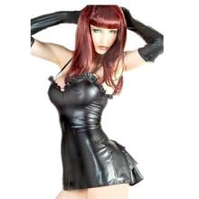 Plus Size Cheap Ladies Straps Black PVC Leather Ruffle Club Wear Dance Dress  M7052