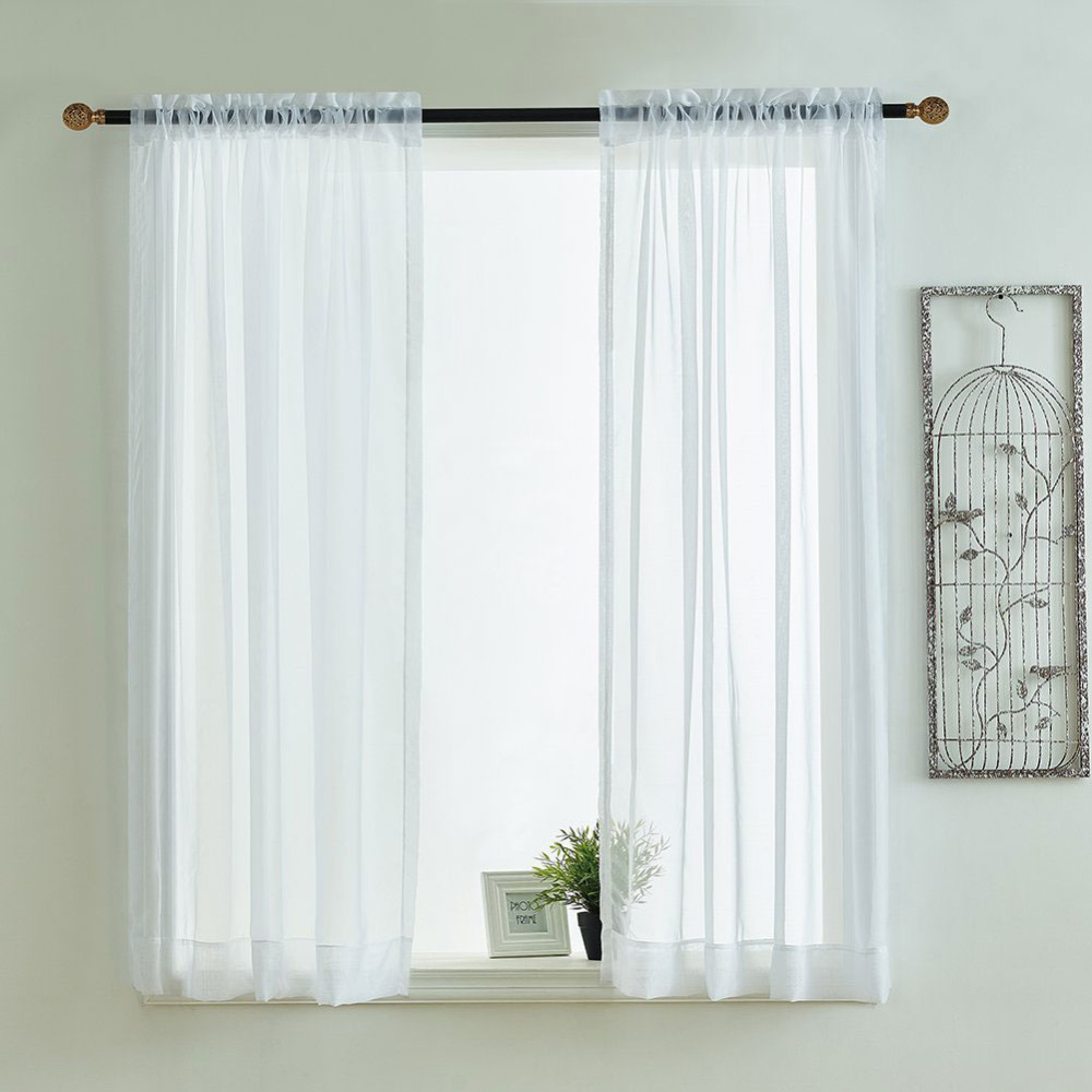 Kitchen curtains valances rod pocket decorative elegant for Kitchen window curtains