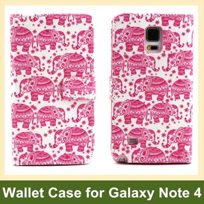 Retro Camera Radio Dog Bear Elephant Owl Flower Wave PU Leather Wallet Flip Case for Samsung Galaxy Note 4 SM-N910F 10pcs/lot