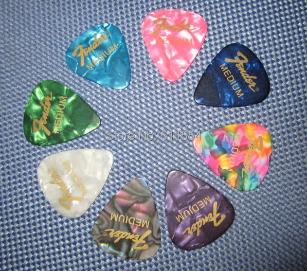 Dropshipping 100pcs/lot Silk Gold Printing Celluloid Custom Guitar Picks For Fender Guitar Picks Plectrums Free Shipping(China (Mainland))