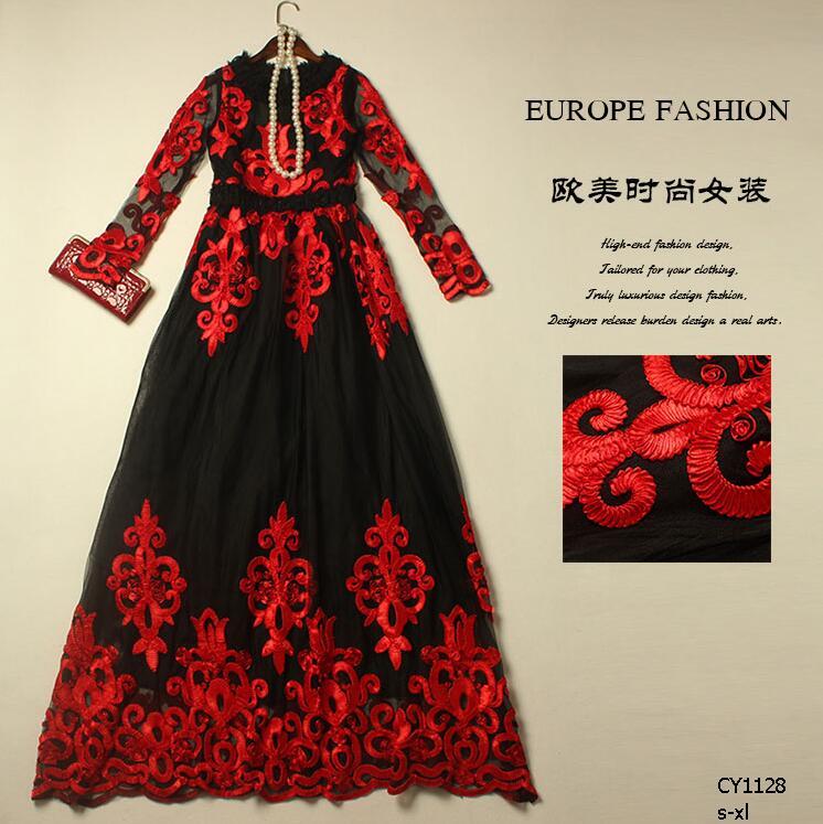 HIGH QUALITY European style 2016 New fashion women's runway dress retro gown dress Handmade dish flowers mesh party dress CY1128(China (Mainland))