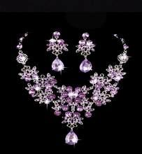 KMVEXO Mode Kristall Strass Indische Halskette Ohrringe Schmuck Sets für Frauen Bräute Braut Hochzeit Partei Kostüm Schmuck(China)