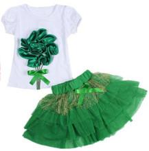 2016 nouvelles filles costume (princesse robe + T-shirt) 2 PC ensembles, couches tutu jupe 2 vêtements ensembles filles D'été de mode jupe costumes(China (Mainland))