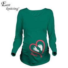 EAST KNITTING K134 Baby's Footprint Pregnancy Clothes Women Long Sleeve T-shirts Spring Maternity Tops (China (Mainland))