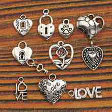 Buy 10pcs Mixed Tibetan Silver Plated Heart Love Charms Pendants Jewelry Making Diy Crafts Handmade m036 for $1.23 in AliExpress store