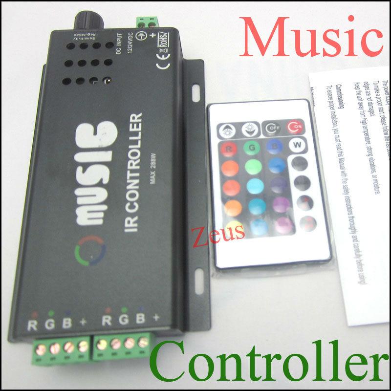 1pcs DC12V 144W common anode IR two strip 24key RGB remote music controller for rgb led strip free shipping()