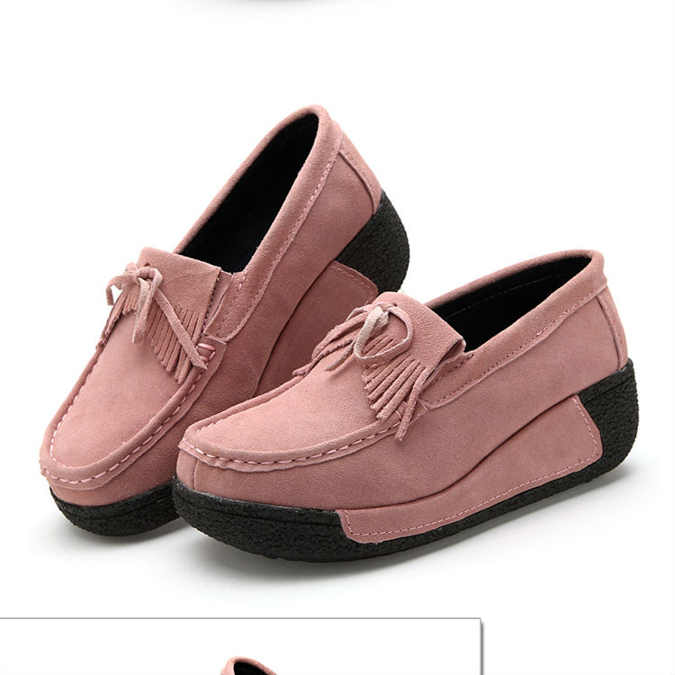 Rubber Shoes For Women Casual Female Shoe Flat Bow Quality Suede Lady Soft Autumn Rubber Shoes For Women Skid FemaleShoe Fashion