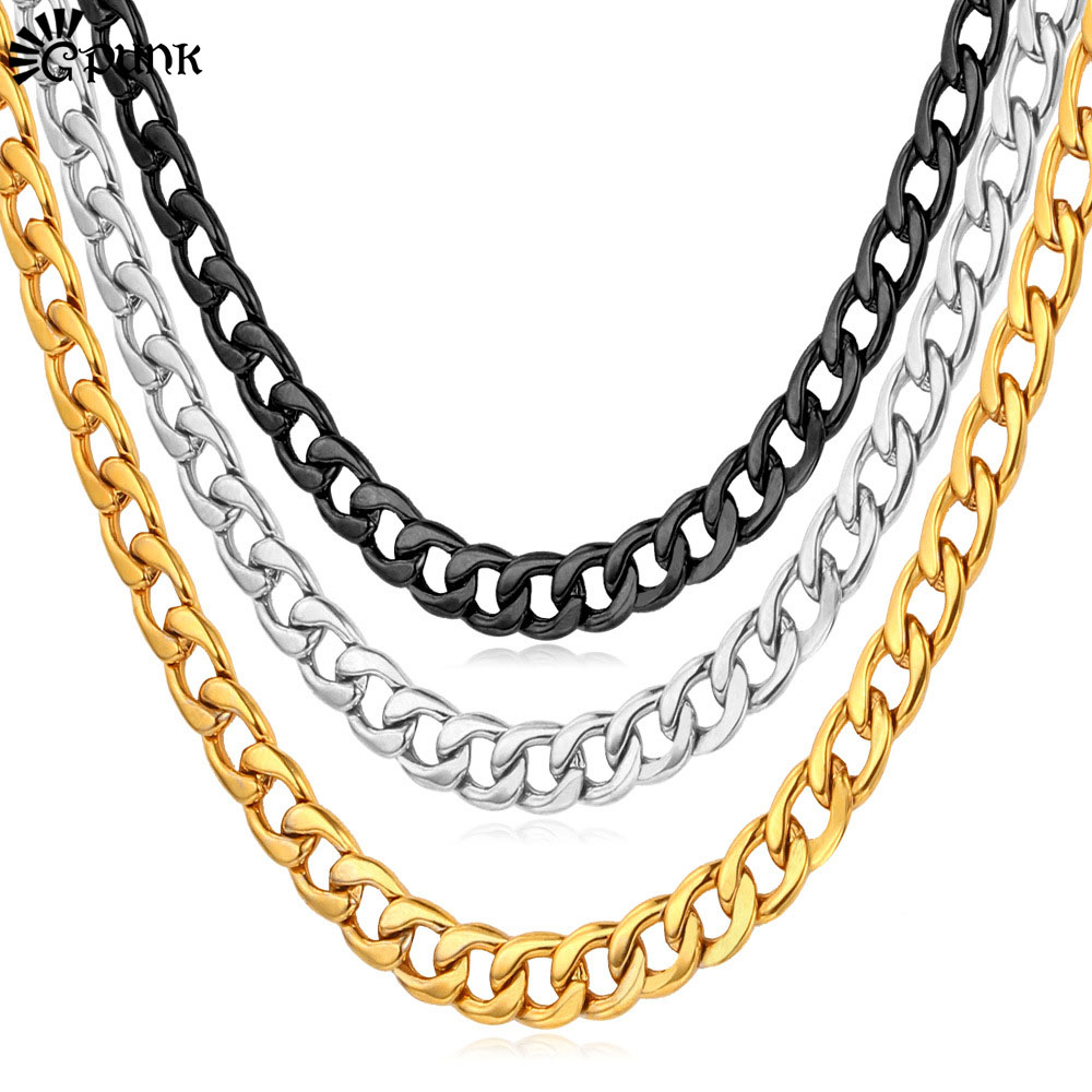 Men Punk Big Necklace 316L Stainless Steel Never Fade Cuban Necklaces Gift For Men Statement Necklace wholesale Chain Gold N227G(China (Mainland))