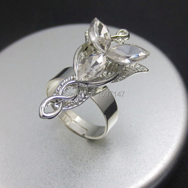 12pcs/lot Bling Silver Plated Arwen Evenstar Crystal Rings Statement Hobbit Elegant Rings<br><br>Aliexpress