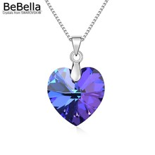 BeBella classic heart pendant necklace made with Swarovski Elements thin box chain for 2016 women Mother's Day gift(China (Mainland))