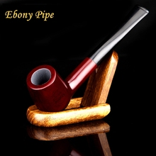 Red Straight Ebony Wood Smoking Pipe Best Handmade Tobacco Pipe 9mm Filter   Send Smoking Set YD519 Red