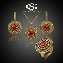 G&S Brand Womens Vintage Bronze Jewelry Sets Fashion Luxury Classic Jewelry Sets Top Quality Rhinestone Necklace Earrings Ring(China (Mainland))
