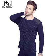 Innersy 2016 Underwear Cotton MenThermal Underwear Long Johns Autumn Cloth Men's Warm Underwear Print Men Long Johns Winter Set(China (Mainland))