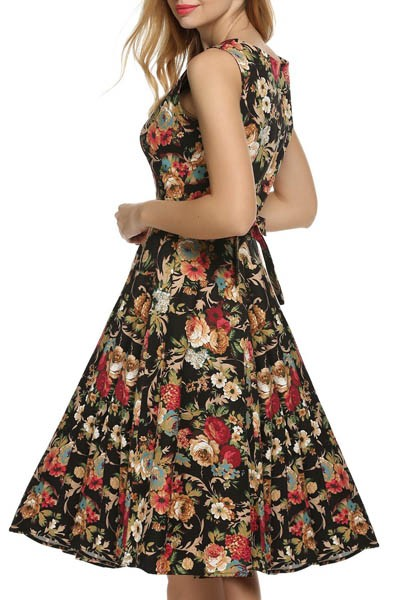 Best 1950s Vintage Swing Dress Round Neck Overall Printed Flower Home Party Dress for Woman L36107-1 (2)