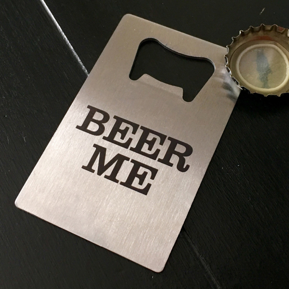 100x Corporate Promotional Gifts Custom Beer Bottle Opener Personalized Credit Card Sized Bottle Opener Custom Logo Printed FREE(China (Mainland))