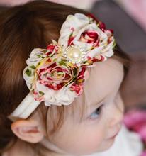 20 Clrs новорожденный девушки атласной лентой цветов ободки фотография реквизит для новорожденных детские повязка на голову детей аксессуары W106