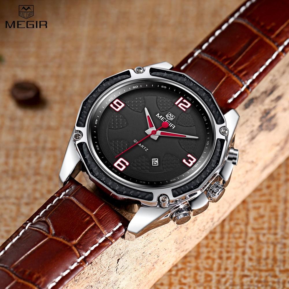Megir кварцевые часы моды для мужчин из натуральной кожи часы мужские подарков наручные часы эмаль живопись наручные часы relogio masculino