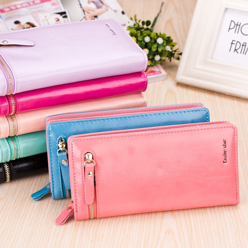 2015 new cute sweet girl woman patch work long section brief zipper wallets lady fashion soft phone cases shopping handbags(China (Mainland))