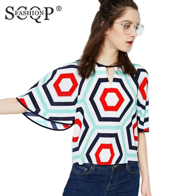 SCQP FASHION Geometric Blue Chiffon Shirts Women Summer Batwing Sleeve Womens Blouses 2016 Loose Office Formal Ladies Blouse(China (Mainland))