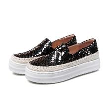 sheepskin round toe flats plaids loafers genuine leather women shoes platform spring autumn shoes sizes 22cm-25.5cm(China (Mainland))