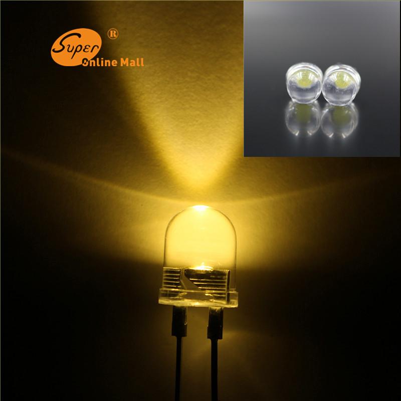 50 Pcs Led 10mm 0.5W warm-white LEDs Lamp Light 10 mm Super Bright 0.5w Emitting Diodes Light Up Diodes(China (Mainland))