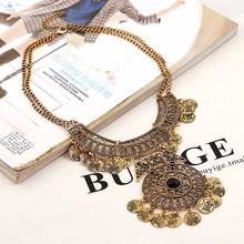 Fashion Collier Femme 2016 Women Bohemian Vintage Maxi Necklace Collar Bijoux Ethnic jewelry Tassel Coin Statement