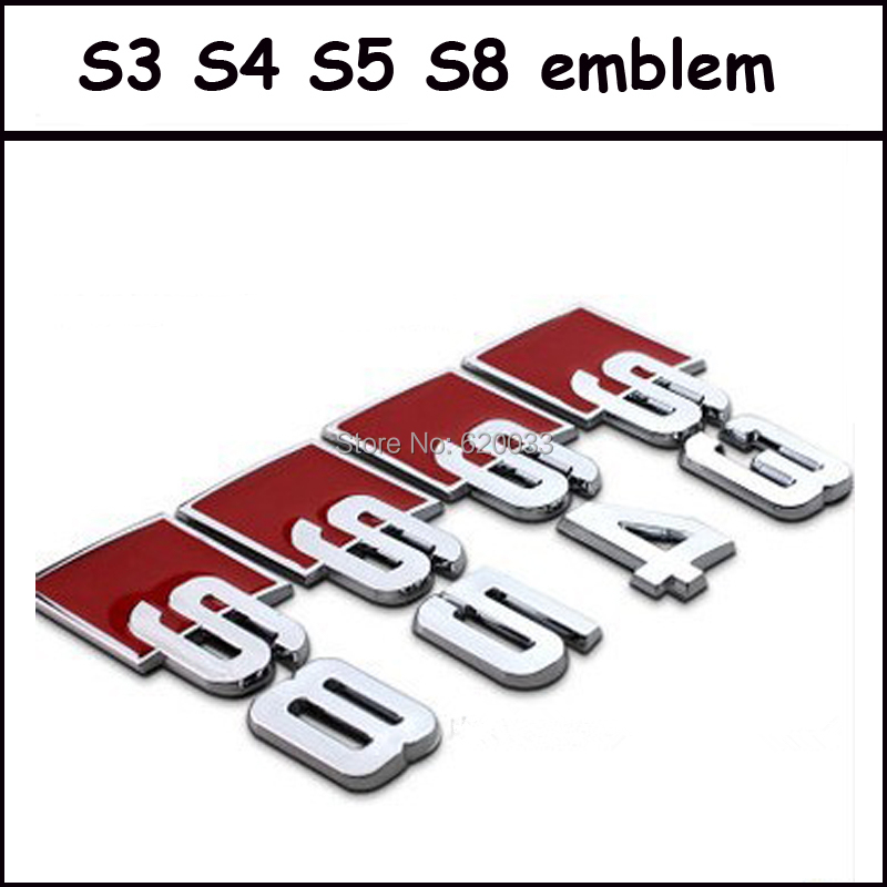 Auto Metal Chrome S3 S4 S5 S8 Emblem Car S3 S4 S4 S8 Sticker Badge Decal for Audi tunning cars (fits for Audi)(China (Mainland))