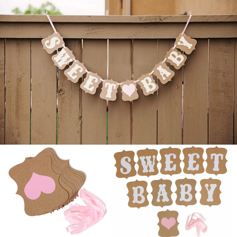 HOT Baby Shower Sweet Baby Candy Bar Banner Bunting