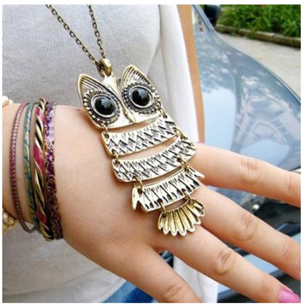 2015 Hot Charm Vintage Antique Bronze Owl Pendant Sweater Necklace Santa Gift Ancient the Owl Sweater Chain Jewelry(China (Mainland))